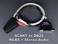 Female Rgb Euro Scart To Db25 D-sub + Audio Cable For Sony Pvm 2030 2530 Etc