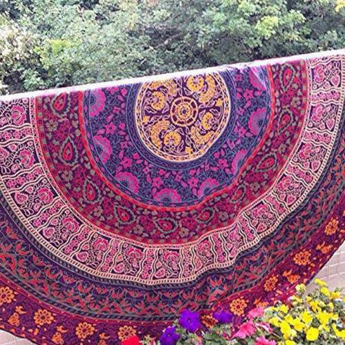 Mandala Indian Hippie Boho Tapestry Round Beach Throw Towel Mat Picnic Blankets