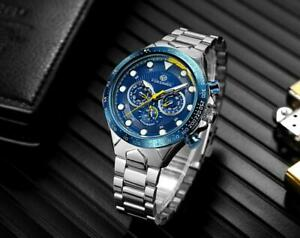 Automatik-Multifunktion-Herren-Uhr-Blau-Silber-Farben-Edelstahl-Armband-Uhren