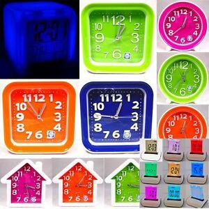 Großer Neon Farben Trend Wecker Quarz Geräuschlos Alarm Clock Neonfarben Kinder