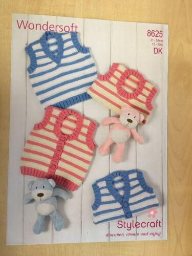 "Stylecraft Wondersoft D//K Babies Waistcoat Knitting Pattern 8625 Sizes 12-20/"""