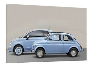Details About Fiat 500 30x20 Inch Canvas Old New Framed Picture Poster Print