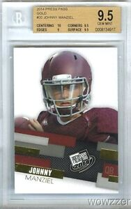 2014 Press Pass GOLD #30 Johnny Manziel First Ever ROOKIE BGS 9.5 GEM Browns !