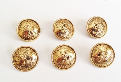6 ANTIQUE GOLD TONE  METAL MILITARY STYLE  ERM  KMS BLAZER COAT BUTTONS 20mm