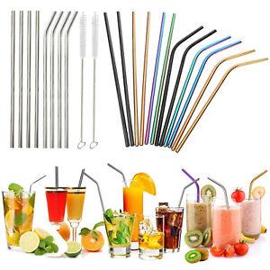 8Pcs Stainless Steel Metal Drinking Straw Straws Mug + 3 Cleaner Brush Kit Tools