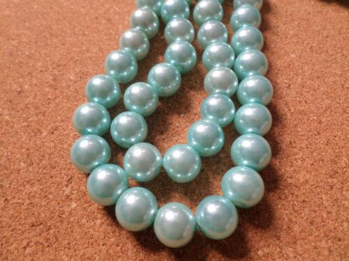 25 X Vidrio Cuentas De Perla-Redondo 10mm-azul pálido