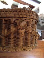 RARE Vintage Barbola Sewing Basket Tufted Silk Lining Antique Old LAST SALE