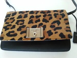 c855933d470a NEW Auth PRADA Calf Hair Nylon Leather Flap Clutch Crossbody Bag ...