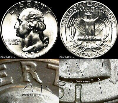 1951-D DDO Washington Silver Quarter ~ GEM BU Uncirculated ~ DOUBLED DIE OBVERSE