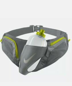 Nike-Large-Unisex-20oz-Flask-Hydration-Running-Belt-Adjustable-2-Zip-Pockets