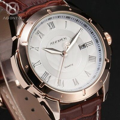AgentX Mens Roman Date Leather Quartz Stainless Steel Dress Sport Wrist Watch