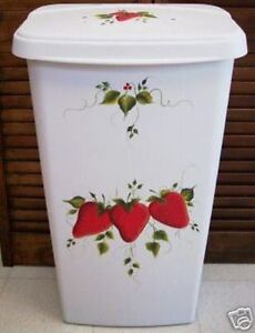 HAND-PAINTED-STRAWBERRY-TRASH-CAN-HAMPER-NEW-DESIGN-BY-MB