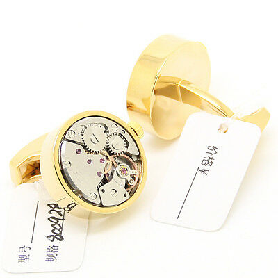 Steampunk Gold Round and Silver Movement Watch Cufflinks