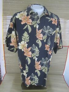 JAMAICA-JAXX-Hawaiian-ALOHA-shirt-L-pit-to-pit-24-sil-tropical-floral-luau-tiki
