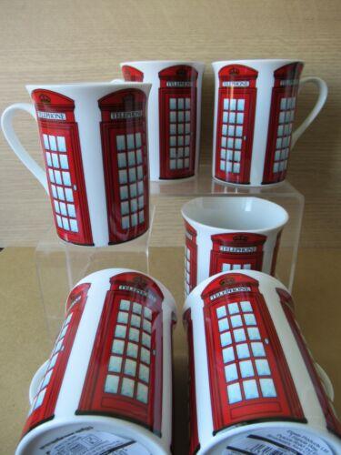 ou ensemble de 6 Rouge Téléphone Boîte souvenir photo Mug 4 Neuf 1 2