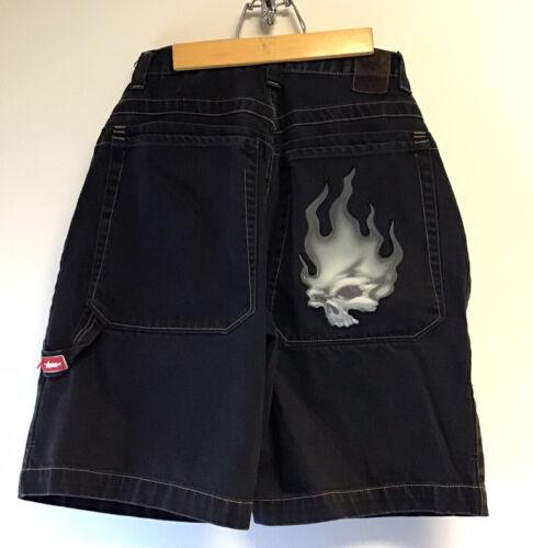 VTG JNCO Jeans Co. Black Skater Jean Shorts Flamin