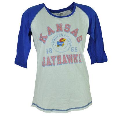 Diplomatisch Ncaa Kansas Jayhawks Distressed 3/4 Ärmel Damen T-shirt Weiß Sport Offensichtlicher Effekt Fanartikel Weitere Ballsportarten