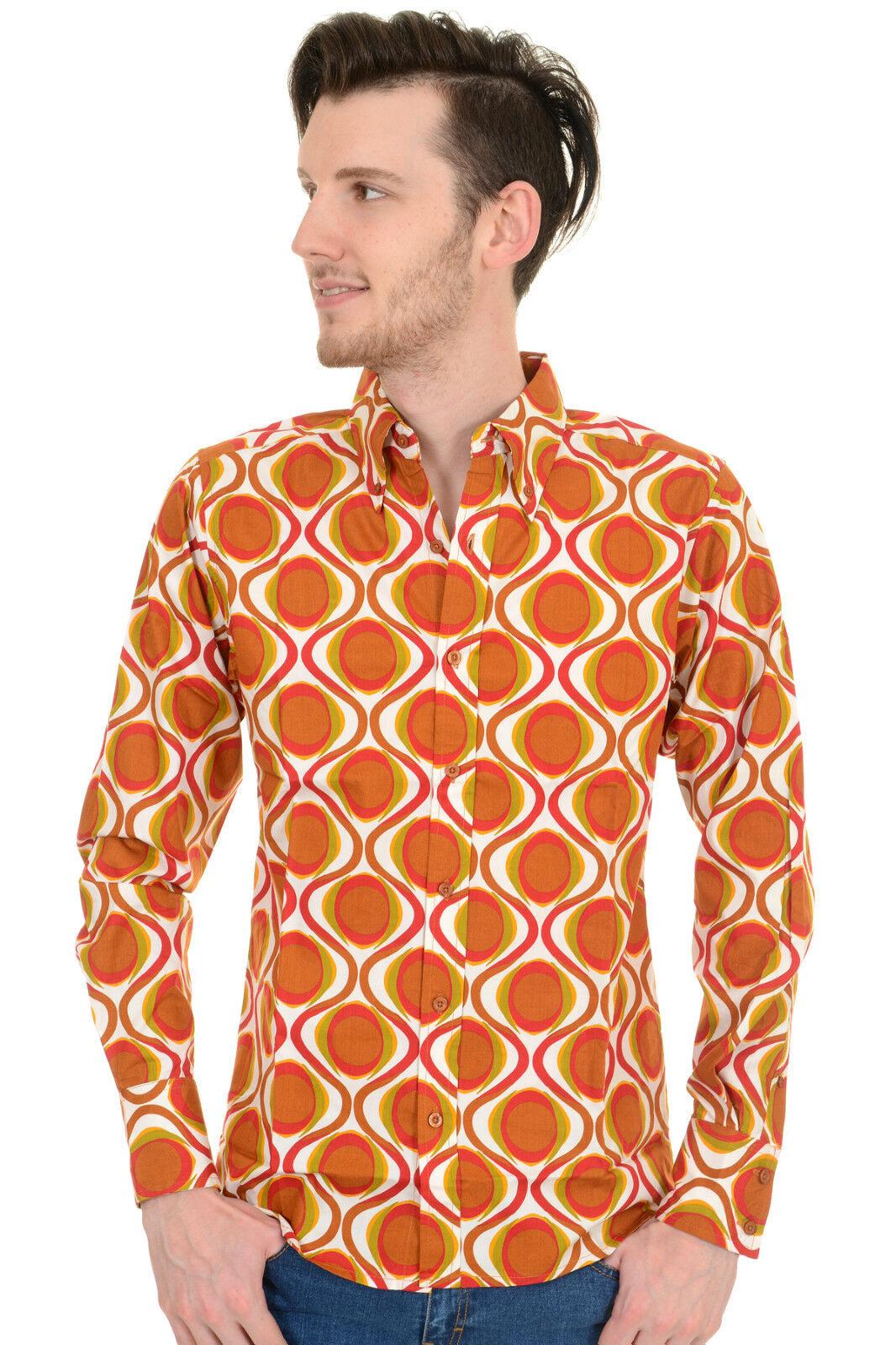 Mens Run & Fly Retro Mod Geometric Psychedelic Printed 70s Shirt  | Zahlreiche In Vielfalt  | Trendy  | Schönes Aussehen