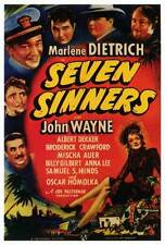 SEVEN SINNERS Movie POSTER 27x40 Marlene Dietrich John Wayne Albert Dekker