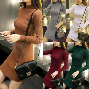 Women-Fall-Winter-Slim-Bodycon-Turtleneck-Knitted-Sweater-Dress-Jumper-Knitwear
