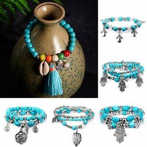 Charm-Women-Boho-Turquoise-Beads-Tassel-Bracelet-Tibetan-Silver-Tribal-Bangle