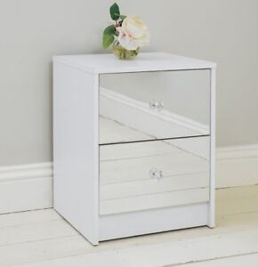 Etonnant Image Is Loading 2 Drawer Mirrored Bedside Table Gloss White Frame
