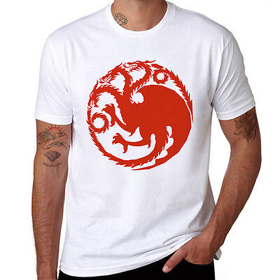 Men's T-Shirt Game of Thrones Ice Wolf Printed Tops White Cotton Short Sleeve