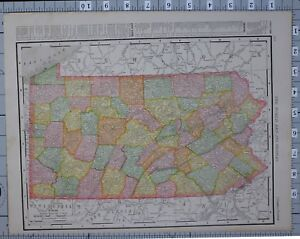 Details about 1906 MAP UNITED STATES PENNSYLVANIA COUNTIES & CITIES  PHILADELPHIA PITTSBURG