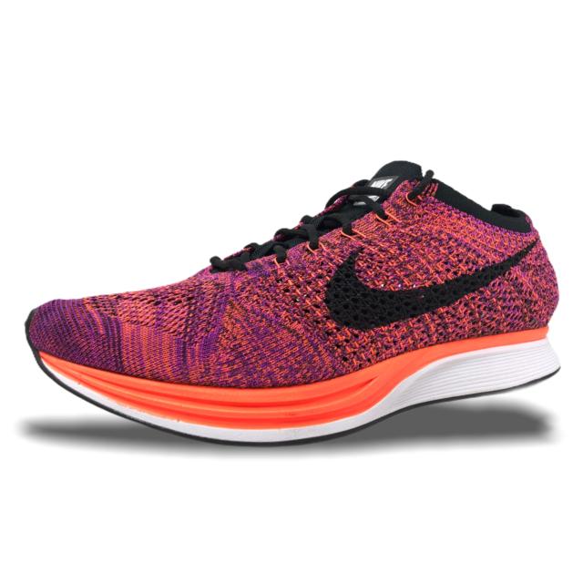 Nike Flyknit Racer Mens Running Shoes Size 10.5 Black/Hyper Orange 526628  008