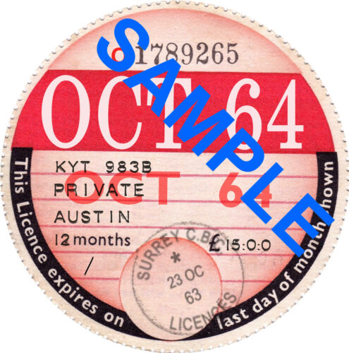 Replica Classic Car Vehicle Road Tax Disc Birthday Fathers Day Gift Bespoke