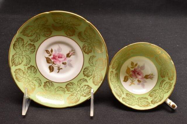 Royal Grafton 8114 Green With Pink Rose Cup & Saucer