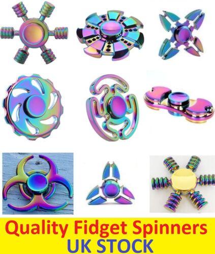 METAL Rainbow Fidget Dito Spinner messa a fuoco a mano in alluminio SPIN Stress Giocattolo Cuscinetto