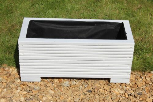 Wooden Garden Trough Planter or Plant Pots White 50x22x23 cm
