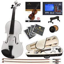 Cecilio 4/4 Ebony Fitted Solidwood Violin Metallic White +Tuner+Book/Audio/Video