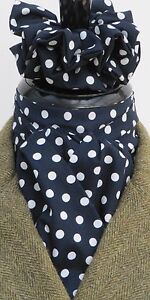Ready-Tied-Navy-Blue-amp-White-Polka-Dot-Cotton-Riding-Stock-and-Scrunchie-Show