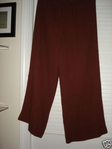 Dusan cinnamon silk unlined semi sheer pants L permanent pleat