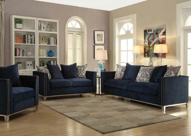 Living Room Furniture Sofa Contemporary Nail Head Trim Navy Blue Color 3pc Set For Sale Online