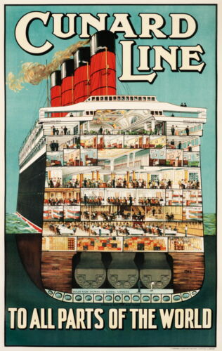 CUNARD LINE To All Parts Of The World Retro Travel/Promo Poster  A1A2A3A4Sizes