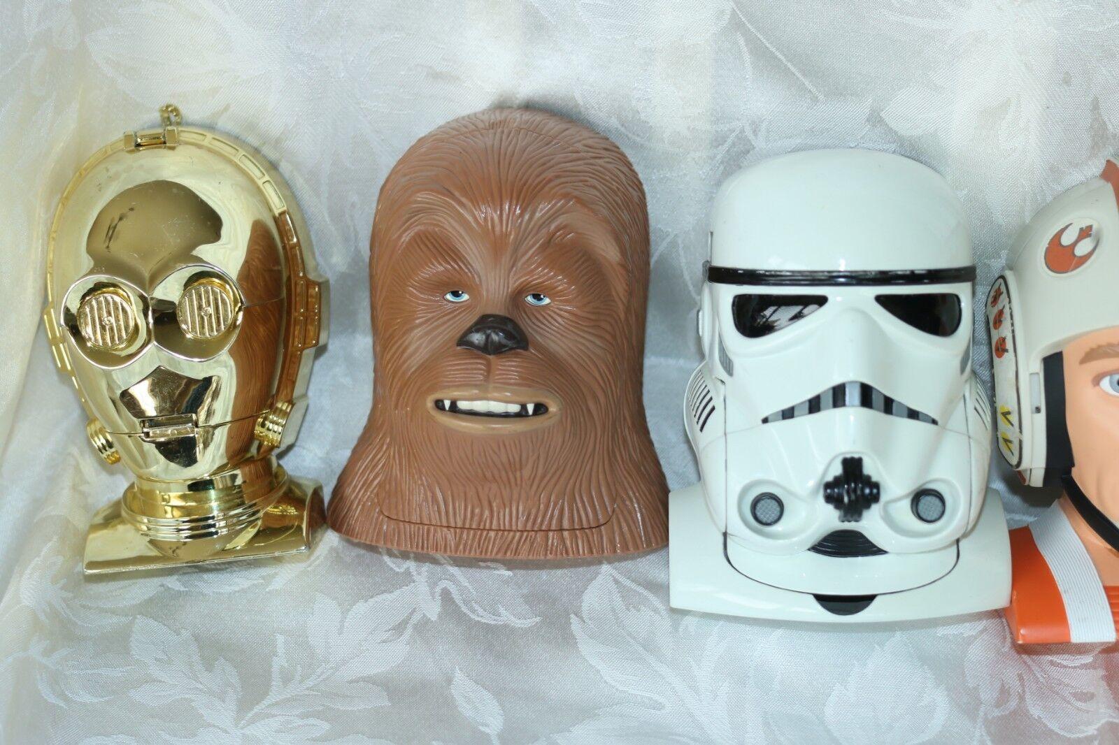 Lot Lot Lot of 6 Star Wars Galoob Toys 1994-1996 Transforming Heads Luke R2D2 3CPO Darth 737f41