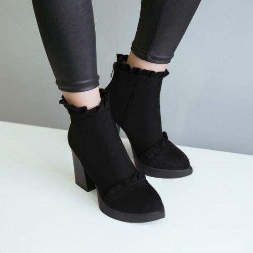 Womens Casual Pointy Toe Ankle Boots Black zipper Chunky Block Heels Shoes CHIC
