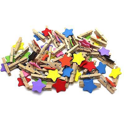 15Pcs Mini Cute Cartoon Star Shape Wooden Clip Message Photo Card Holder Clip