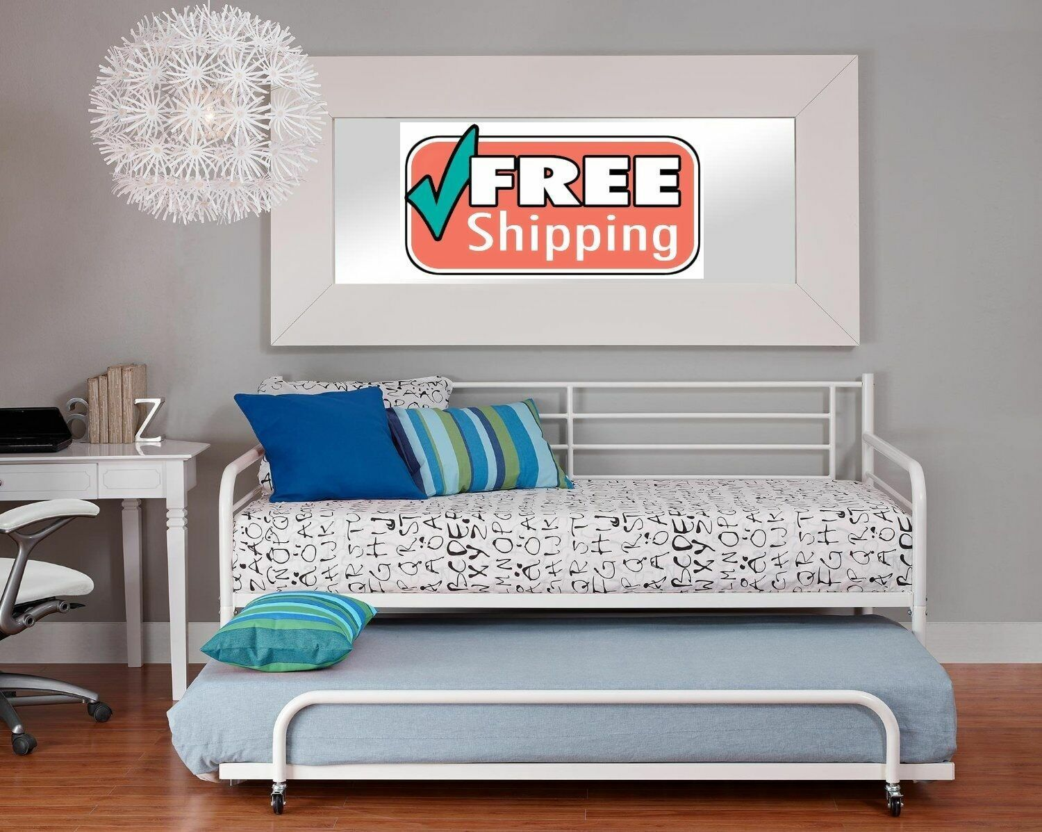 Twin Trundle Bed For White Daybed Metal Frame Roll Up Bunk