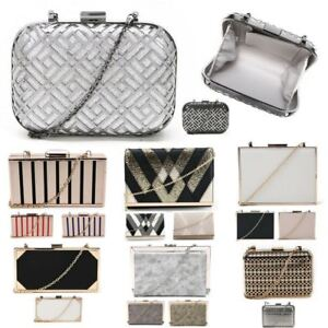 New-Womens-Clutch-Bag-With-Metallic-Tones-Women-039-s-Caged-Finish-Evening-Bag