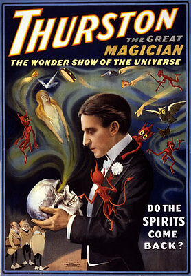 M9 Vintage Thurston Do Spirits Come Back Magic Magician Poster Re-Print A4