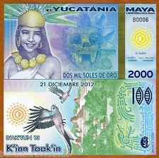 MAYA YUCATANIA 2000 MIL SOLES DE ORO POLYMER UNC # 190