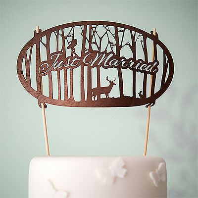 Just Married Woodland Wood Veneer Wedding Cake Topper ...