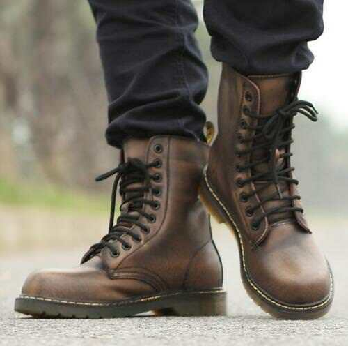 Uomo Military Military Uomo Riding Lace Up Flat Ankle Stivali Shoes Punk Vintage Combat K 8efdaa