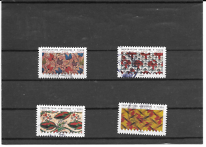 FRANCE-2019-INSPIRATION-AFRICAINE-LOT-DE-4-TIMBRES-AUTOADHESIFS-CACHETS-RONDS
