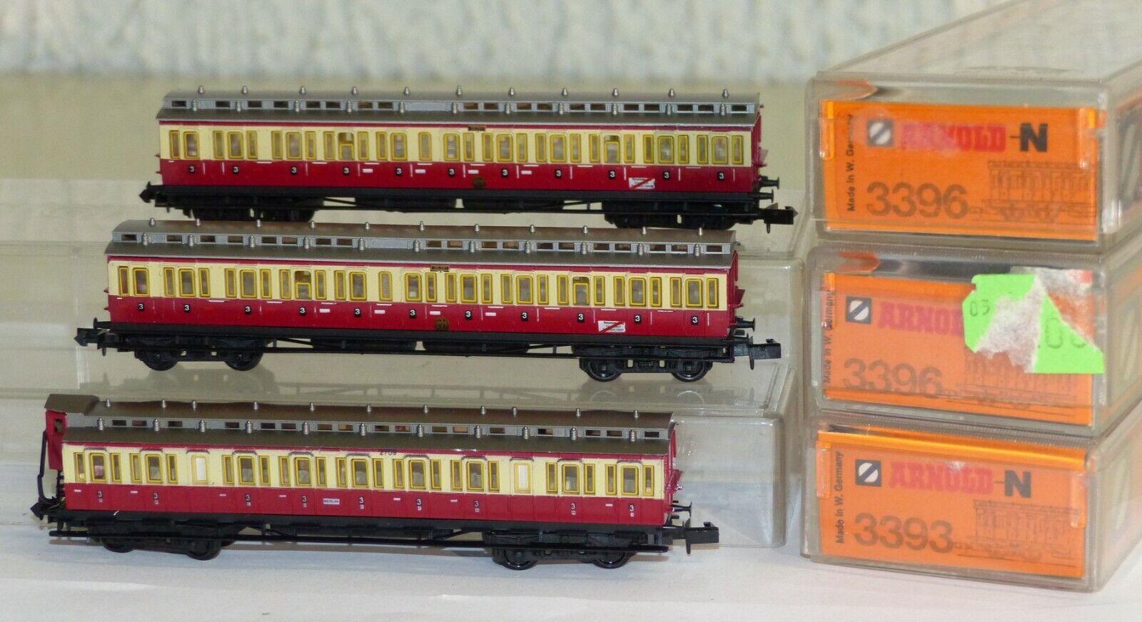 3x Arnold Personenwagen  3393 u 2x 3396 Abteilwagen DRG rot creme Spur N TOP OVP
