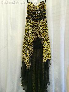 Cassandra-Stone-Mac-Duggal-Formal-Dress-Flash-Animal-Print-Hi-Lo-Size-2-NWT